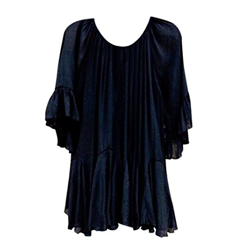 SEWORLD Damen Sommer Mode Frauen Solide O-Ausschnitt Boho Rüschen Chiffon Shirts Schmetterlings Hülse Unregelmäßige Tops Bluse(Schwarz,XXL) (Shirt Stehkragen Rüschen)