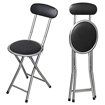 Tinxs Folding Breakfast Bar Stool Party Chair Kitchen Office School Padded Pvc Seat