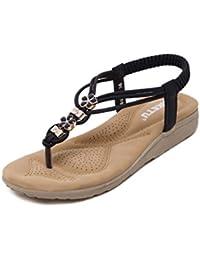 Supshark--Frauen Boho Flachen Sandalen Clip Toe Strass weichen Sandalen Sommer Casual Strand (42 EU Schwarz)