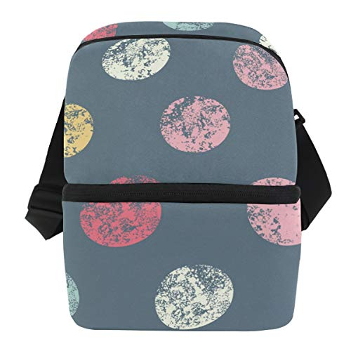 Coosun bolsa térmica para el almuerzo con lunares, bolsa térmica aislante, bolsa de almuerzo de neopreno impermeable, bolsa de almuerzo con cremallera para el trabajo al aire libre, viajes, picnic