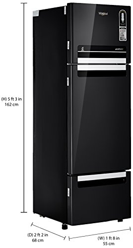 Whirlpool 240L Frost Free Multi-Door Refrigerator (FP 263D Protton Roy, Caviar Black)