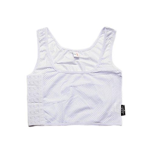 BaronHong Sport BH Mesh Brust Binder Korsett Kurz Tank Top für Tomboy Trans Lesben (Weiß, L)
