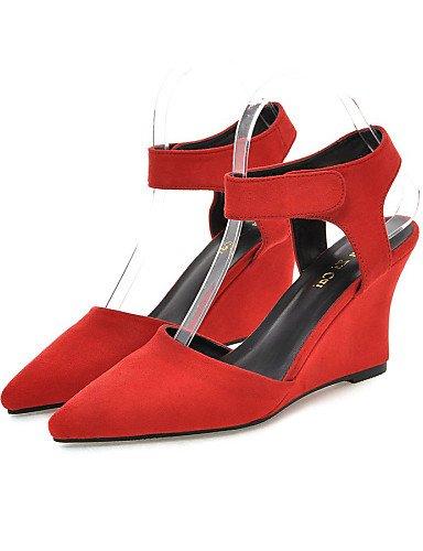 UWSZZ IL Sandali eleganti comfort Scarpe Donna-Sandali-Ufficio e lavoro / Formale / Casual-Zeppe / Tacchi / Con cinghia / A punta-Zeppa-Finta pelle-Nero / Blu / Rosso Red