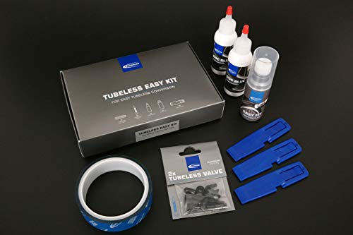 Schwalbe Kit 25 Im Set Felgenband, Tubeless-Ventile, Doc Blue, Easy Fit, Reifenheber Reifen, Schwarz, One Size