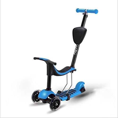 RDJM Deluxe Kick Scooter Einstellbare Höhe, 3 Wheel Kick Scooter mit Sitz und Putter, Dreiradscooter Sitzscooter , blue