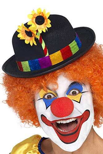 Smiffys Herren Clown Filz Hut mit buntem Band und Blumen, One Size, - Clown Kostüm Band