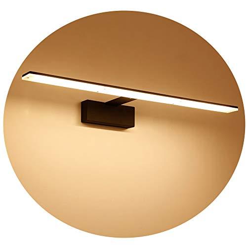 Ralbay Spiegelleuchte 14W LED Spiegellampe Bad Wandlampe Badlampe Badleuchte Bildleuchte Schrankleuchte Warmweiß 2700~3200K 910Lumen Abstrahlwinkel 120° Länge 62cm, Schwarz (Kommoden Schwarz Lange)
