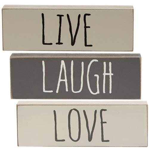 Americana Regal (Hearthside 'Live Laugh Love' Holzblockschilder, 3 Stück)