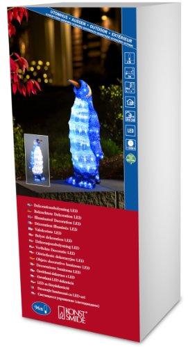 Konstsmide 6117-203 LED Acrylfigur Pinguin stehend / für Außen (IP44) /  24V Außentrafo / 96 kalt weiße Dioden / transparentes Kabel