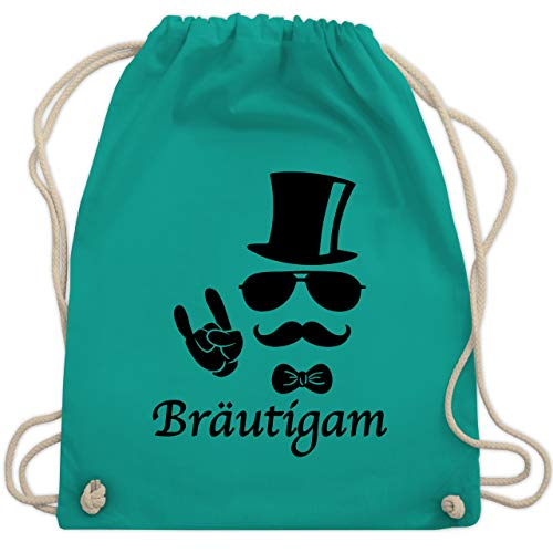 JGA Junggesellenabschied - Bräutigam Hipster Suit up - Unisize - Türkis - WM110 - Turnbeutel & Gym Bag