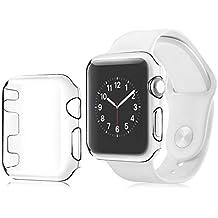 Bobury Para Apple Watch Series 1 Funda protectora para carcasa 38 mm All-Around para iWatch Protector para pantalla Hard PC Pantalla completa Transparente Ultra delgada Accesorio Shell Shield
