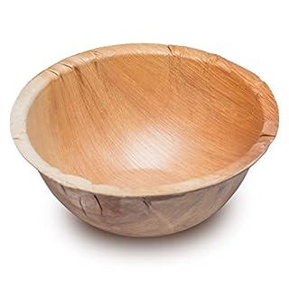 25 Holzschalen aus Palmblatt 500ml | edel & umweltfreundlich ·stilvolles Palmblattgeschirr ist 100% kompostierbar | Bio Einweggeschirr Obstschalen | Suppenschalen Palmblattteller (500ml (25 Stück))
