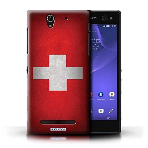 Coque en plastique pour Sony Xperia C3 Collection Drapeau - Chili/Chiliean Suisse