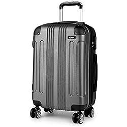 Kono Bagages à Coque Dure en ABS léger Valise Gris 4 Roues Spinner Business Trip Trolley(65cm)