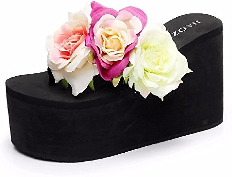 XIAOGEGE Flor de verano hecha a mano con talón muy alto, diseño de letras hembra antideslizante, versión coreana...