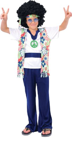 Imagen de hippie dude boys hippie fancy dress childrens 60's costume medium disfraz  alternativa