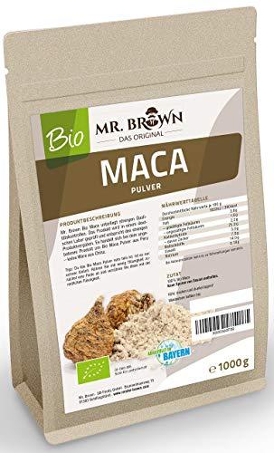 Mr. Brown BIO Maca Pulver aus Peru | Premium Qualität | abgefüllt in Deutschland | aus kontrolliert biologischem Anbau | Ohne Zusatzstoffe & Ohne Konservierungsmittel (1000 GR)
