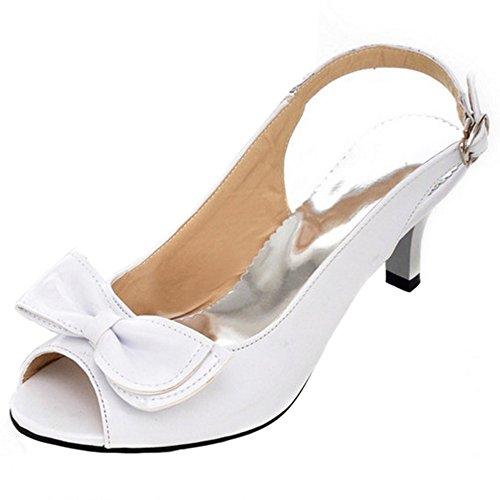 COOLCEPT Femme Mode A Enfiler Chaussures Basse Slingback Escarpins Peep Toe Chaussures Avec Bow Blanc