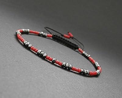 Bracelet fin homme/femme perles de corail rouge et pierres en hématite facettée