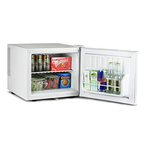 ChillQuiet Mini Fridge 17ltr White | bar@drinkstuff Quiet Running Mini Fridge, Can Cooler, Bottle Cooler, Compact Fridge, Table Counter Top Fridge with Lock