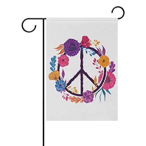 Doppelseitig Frühling Blumen und Blätter Frieden Anmeldung Peace sign Floral Design Polyester HAUS/Garten Flagge Banner 12x 18/71,1x 101,6cm für Hochzeit Party alle Wetter, Polyester, multi, 12x18 -