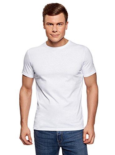 oodji Ultra Herren T-Shirt Basic (2er-Pack), Weiß, XL