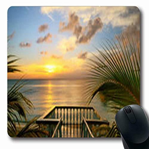 Luancrop Mousepads Palm View Terrassen Balkon Sonnenuntergang am Strand Natur Luft Längliche Gaming Mouse Pad rutschfeste Gummimatte - Sonnenuntergang Terrasse