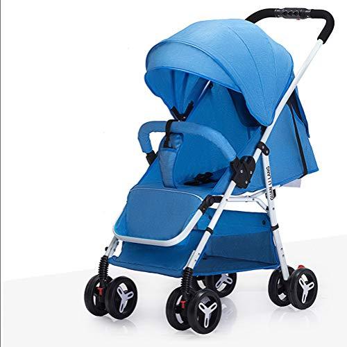 LNDD-Kinderwagen Verstellbarer 360-Grad-Schwenkräder Kinderwagen Reisesystem Buggy-Gehhilfe Komfortables Matratzenzubehör Leichter Buggy Geeignet Für Neugeborene Von 0-4 Jahren,Blau
