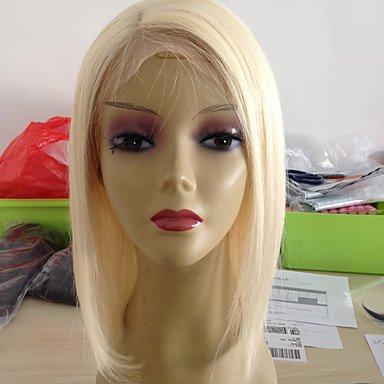 Damen Echthaar Perücken mit Spitze Haare mit intakter Kutikula (Remy Hair) Vollspitze 130% Dichte Gerade Perücke Blonde Kurz Medium , 130% (Spitze-spitze-perücke)