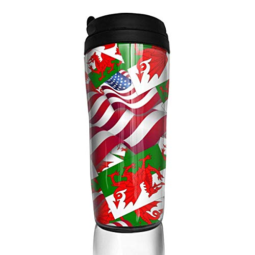 Travel Coffee Mug Wales Flag with America Flag 12 Oz Spill Proof Flip Lid Water Bottle Environmental Protection Material ABS