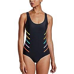 Delimira Mujer Trajes de Baño Vestidos de Baño una Pieza Body Bañador Bikini 2#Negro EU:36
