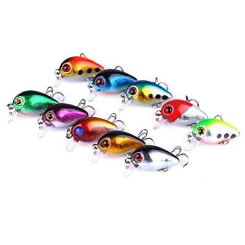 Bomcomi 10PCS / Set 3D Fischaugen Angelhaken Köder Ozean Fluss Elritze Fisch-Köder-Lachsforelle Bass Künstlicher Köder Tackle -