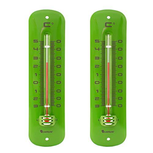 Lantelme 6476set termometro in metallo verde 2pezzi–metallo analogico termometro per interni ed esterni–giardino–gamma di temperature di 30fino a + 50°c