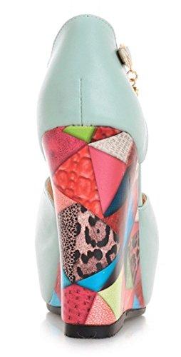 YE Damen Peep Toe Wedges Keilabsatz T-Spangen Sandalen High Heels Plateau Fashion Leder Pumps Mit Riechen Sommer Sandalen Blau