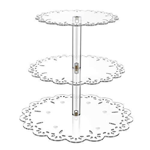 Hemoton 3 Tiers Desserts und Cupcakes stehen Runde Hochzeit Acryl Kuchen Cupcake Baum Turm Servierplatte (Transparent)