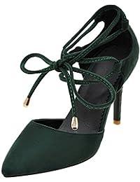 YE Damen Spitze High Heels Stiletto Pumps mit Schnürung und Absatz 9cm Elegant  Schuhe 88ce55046e