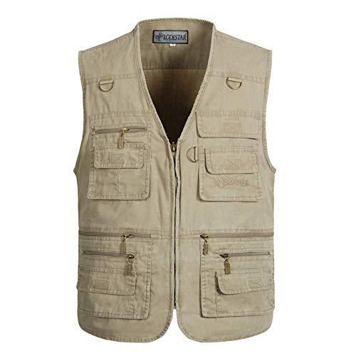 Home Herren Ärmellos (Weste Männer Baumwolle Multi Pocket Sommer Neue männliche beiläufige dünne ärmellose Jacke mit vielen Taschen Mens Fotograf Baggy (Farbe : Beige, größe : 3XL))