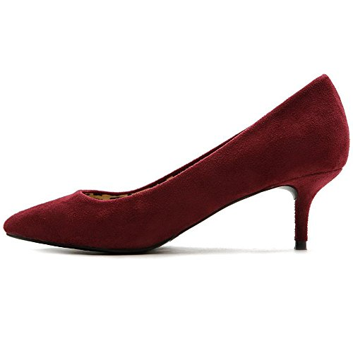 5991f364a42 uBeauty Women s Mid Heel Court Shoes Pointed Toe Big Size Sandals Ladies  Shoes Solid High Heel Basic Shoes Size Suede Wine EU45 - Buy Online in Oman.