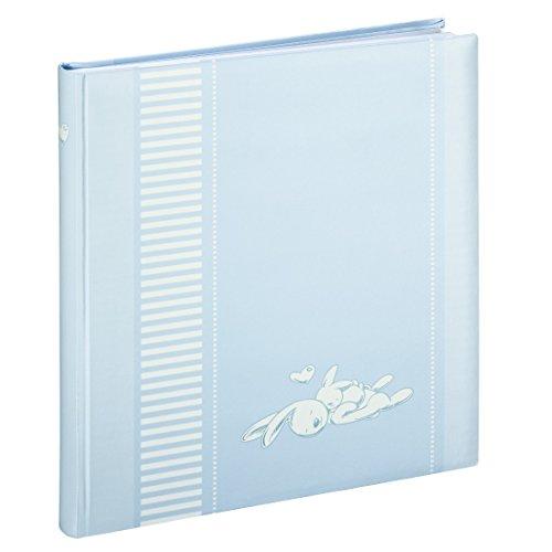 Hama Baby-Fotoalbum Lasse (Album zum Einkleben, Baby-/Kinderalbum, 50 weiße Seiten aus Fotokarton, Für 250 Fotos im Bildformat 10 x 15 cm, Pergaminschutzseiten, Platz zur Selbstgestaltung) blau
