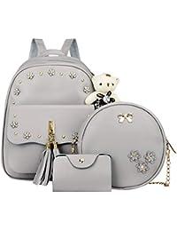 Powlance 3pcs Set Fashion Women Flower Print Chain Shoulder Bags Backpack  Card Bag 321af64805693