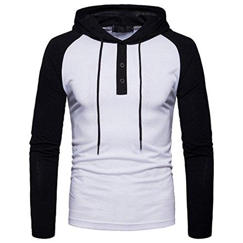 Herren Hoodie Pullover, Huihong Mens Knopf o Hals Pullover Langarm T Shirt Jacke Outwear Hoodie Sweatshirt (Weiß, S) (Sport-grafik-t-stücke 1)