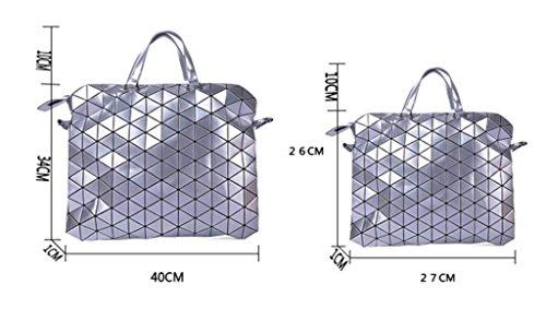 FZHLY Versione Coreana Del Nuovo Pu Briefcase Signora Geometrica Ling Griglia Laser Messenger Bag,Red-large Silver-Small