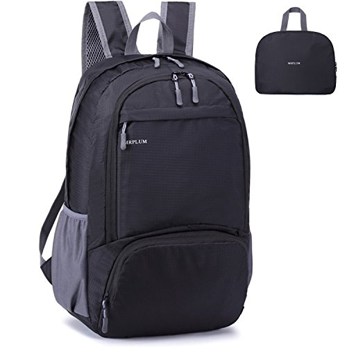 MRPLUM Packable Folding Travel Hiking Daypack Camping Sport Shopping Backpack Outdoor Essential (black)