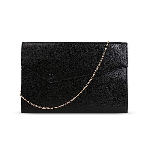 Anna Smith formelle Handtaschen für Frauen abnehmbare Kette Dating und Hochzeit Leichte Kupplung PU Leder Geldbörse mit Schulter Innentaschen glänzende Brieftasche Hülle Tasche Handschlaufe schwarz
