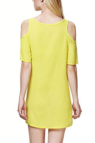 Frauen Die Kalte Schulter Elegante Kurzarm T - Shirt Yellow