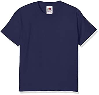 3 Pack Fruit of the Loom Kids Children's Boys Valueweight T-Shirt Navy 1-2 Years