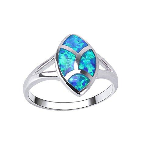 KELITCH Prinzessin Seite Kristall Synthetisch Opal Inlay Doppel Unendlichkeit Herz Versprechen Ring (Blau,6) Synthetische Opal Verlobungsring