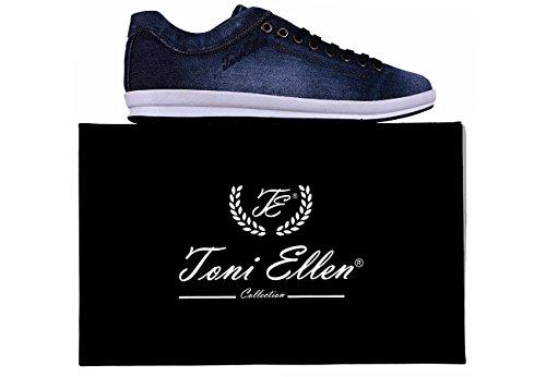 Toni Ellen Python Jeansschuhe Chaussures Décontractées Denim Femmes Chaussures Baskets Homme Sélection Bleu