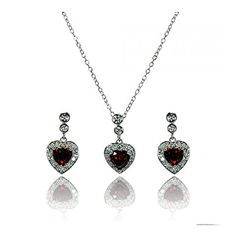 Sterling Silver Rhodium Plated Clear & Red Heart Cubic Zirconia