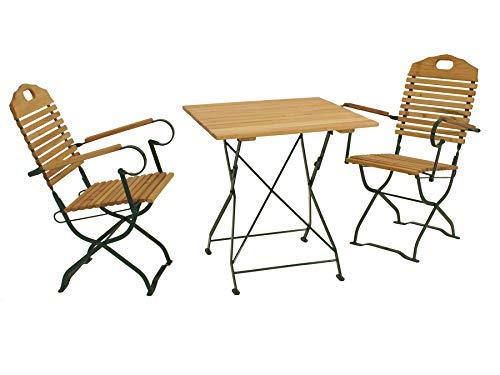Klappgarnitur BAD TÖLZ 3-teilig im Kurgarten-Design, Stahl grün, Holz Robinie